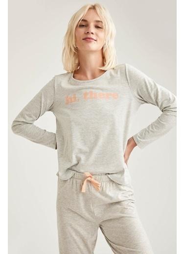 Defacto –Fit Uzun Kollu Baskılı Pijama Takımı Gri